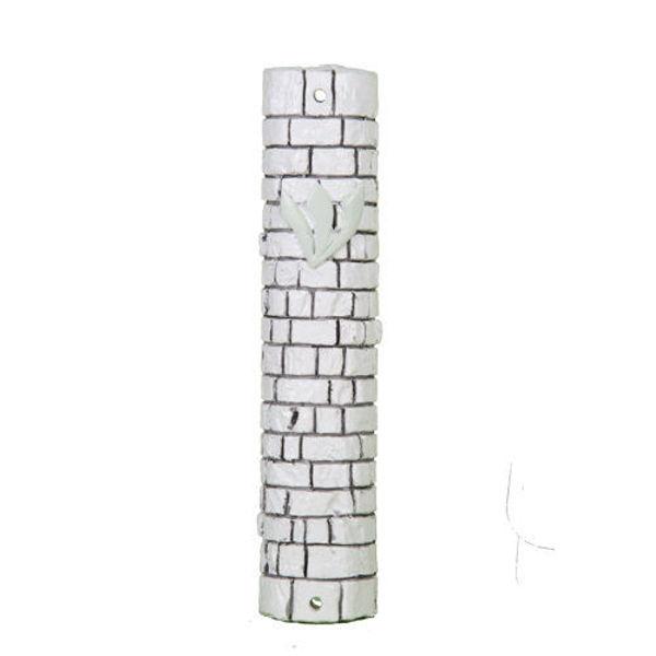 """תמונה של בית מזוזה דמוי אבן לבנה """"אבני כותל"""" עם פקק גומי"""