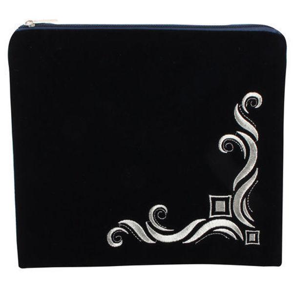 "Picture of תיק לטלית קטיפה כחול כהה עם ריקמה 24*26 ס""מ"